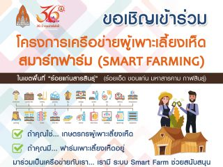 ขอเชิญเข้าร่วมโครงการเครือข่ายผู้เพาะเลี้ยงเห็ดสมาร์ทฟาร์ม (SMART FARMING) ฟรีไม่มีค่าใช้จ่าย ในวันที่ 23 เมษายน 2564